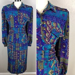Vintage 80s/90s Stained Glass Print Shirt Dress
